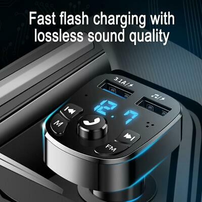 Car FM Transmitter Wireless Bluetooth Handsfree Kit MP3 Player 2USB Fast Charger • 6.59£