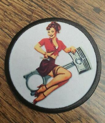 HOT ROD PISTON 50s PIN UP GIRL ! AMERICAN BIKER MOTORCYCLE  IRON SEW ON PATCH  • 4.50£
