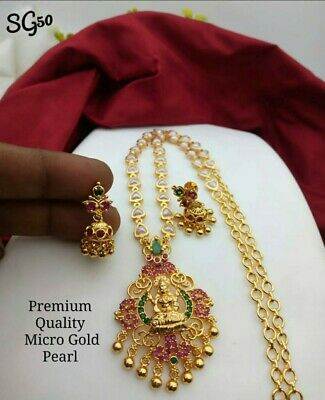 South Indian Bridal Pearl Chain Necklace Set Gold Plated Jewellery  AD Diamond • 14.99£
