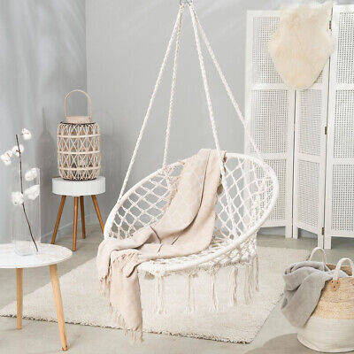 Hammock Chair Swing Hanging Cotton Rope Macrame With Solid Steel C Stand Frame • 159.54£