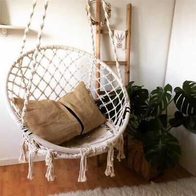 Hanging Macrame Hammock Chair Cotton Woven Rope Swing Chair Seat Garden Outdoor • 159.54£