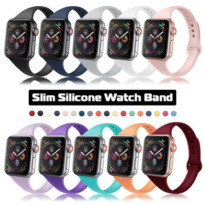 $ CDN5.65 • Buy Slim Silicone Strap Band Replacement For Apple Watch Series 6 5 4 3 IWatch SE