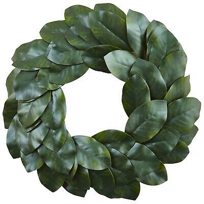 $51.89 • Buy Nearly Natural Magnolia Leaf Wreath, 24 , 100% Polyester Material, Green - NEW