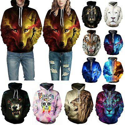 Unisex Galaxy Wolf Lion Tiger 3D Print Hoodie Sweatshirt Pullover Jumper Tops UK • 13.39£