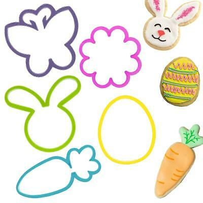 Easter Kitchen - 5 Cookie Cutters - Bunny, Egg, Carrot, Flower And Butterfly • 3.99£