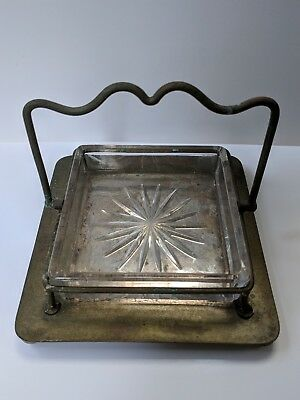 Antique Victorian Silver Plated & Glass Butter Dish • 14£