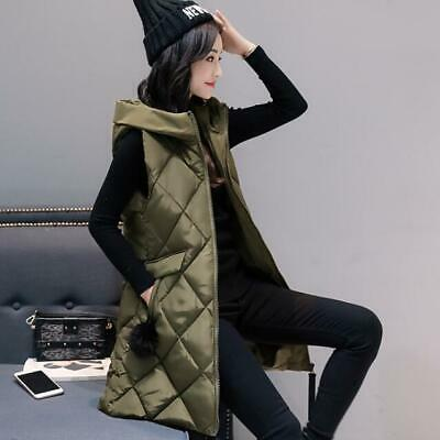 Women Winter Hooded Down Cotton Long Vest Jacket Padded Warm Gilet Parkas Coats • 29.99£