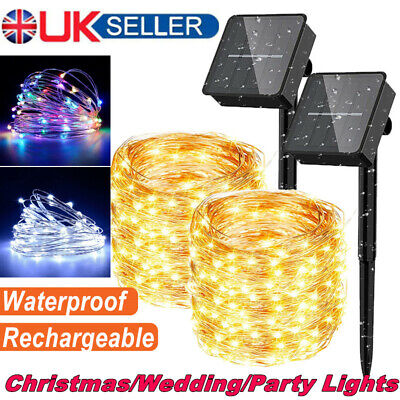 UK STOCK! 200LED Solar String Lights Waterproof Copper Wire Fairy Outdoor Garden • 8.69£