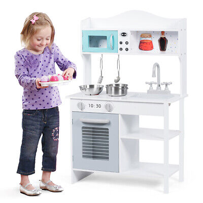 Wooden Kids Play Kitchen Children's Role Play Cooking Set Toy Boys & Girls Gift • 48.99£