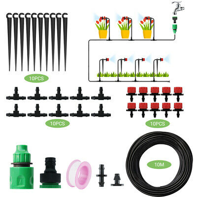 10M Plant Flower Automatic Drip Irrigation System Kit Connectors Hydroponic Self • 12.99£