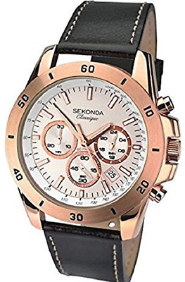 Sekonda Mens Quartz Watch With Rose Gold Dial Chronograph Display And Black Leat • 84.95£