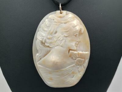 $100 • Buy M+M Scognamiglio Italy Large Carved Lady Cameo Sterling Silver Pendant Necklace