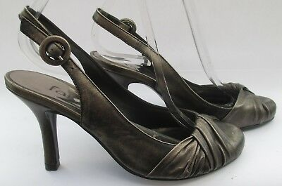 Faith Size 3 (36) Pewter Metallic Leather Slingback High Heel Courts  • 18.99£