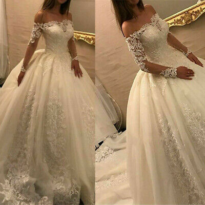 $ CDN159.50 • Buy Wedding Dresses Off The Shoulder Long Sleeve Lace Applique White Ivory Ball Gown