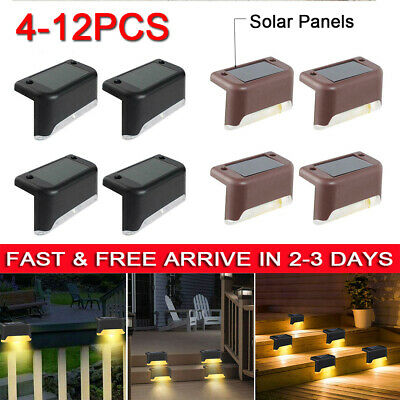 4-12 LED Solar Powered Fence Wall Lights Garden Lamp Step Path Decking Outdoor • 7.60£