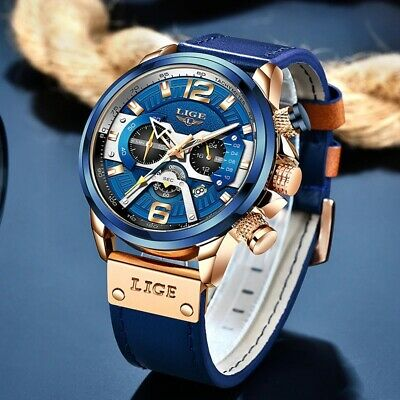 $ CDN41.73 • Buy LIGE 2021 Men's Fashion Watches Top Brand Luxury Waterproof Leather Sport Watch