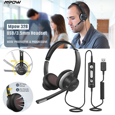 Mpow Wired Headset Over Head USB Headphone Mic For PC Laptop Call Center Skype • 24.81£