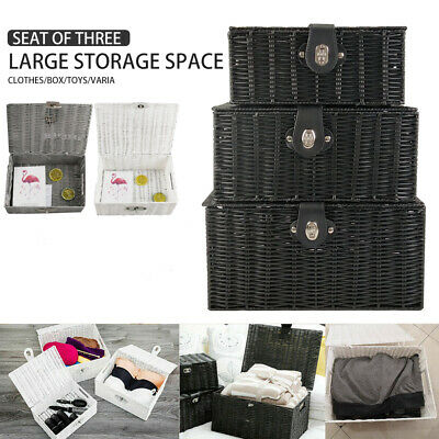 SET OF 3 Storage Baskets Resin Wicker Woven Hamper Tidy Box With Lid & Lock New • 19.99£