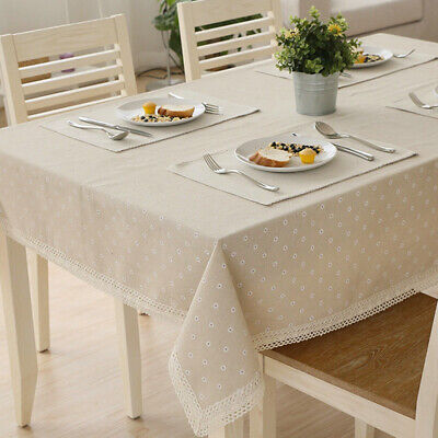 Linen Cotton Flower Floral Tablecloth Table Cloth With Lace Dining Table Covers • 5.99£
