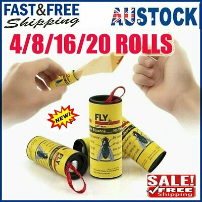 AU15.96 • Buy 4~20 Insect Bug Fly Glue Paper Catcher Trap Ribbon Tape Strip Sticky Flies Rolls