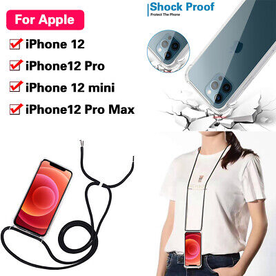 Soft Silicone Case With Lanyard Cord Strap Crossbody For IPhone 12 Pro Max Mini • 4.95£