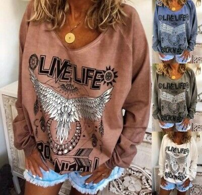 Boho Womens Long Sleeve Baggy T-Shirt Ladies Casual Pullover Blouse Tops Tee New • 8.99£
