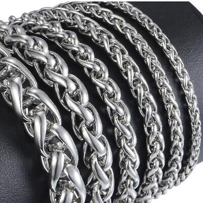 3mm- 10mm Wide Stainless Steel Silver Wheat Chain Curb Link Bracelet 18-21cm J15 • 4.49£