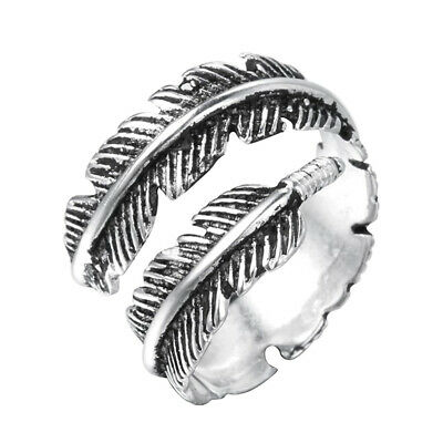 Genuine 925 Sterling Silver Feather Ring Band Open Finger Fully Adjustable Gift • 4.98£