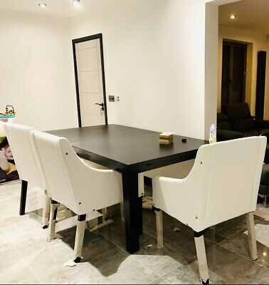 Black Extending Dining Table RRP £299 And 6 Grey Chairs RRP £129 Each • 517£