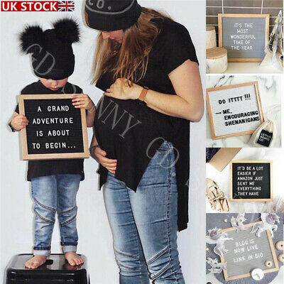 £11.99 • Buy Wooden Letter Board Message Frame Boards Changeable With Felt Symbol Numbers 10