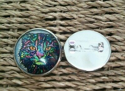 Cat Brooch Badge Glass On Silver Alloy Psychedelic Kitty 25mm • 1.99£
