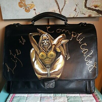 Black Leather Briefcase Laptop Carrier Handpainted Gold Lady Life Is Complicated • 34.99£