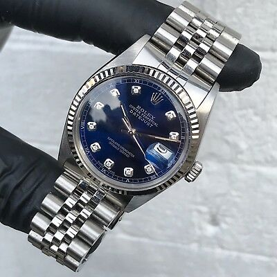 Steel & White Gold Rolex Oyster Perpetual Datejust With Blue Diamond Dial • 3,995£