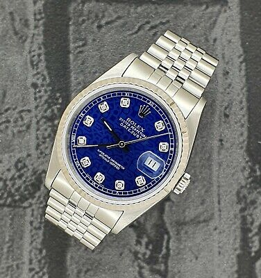 Mens Steel & Gold Rolex Oyster Perpetual Datejust With Blue Jubilee Diamond Dial • 3,995£