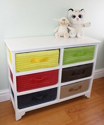 Multi Coloured 6 Drawer Storage Unit With Baskets • 89.99£