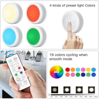 LED Closet Lights RGB Wireless Underwater 16 Colors Lighting With Remote Control • 11.49£