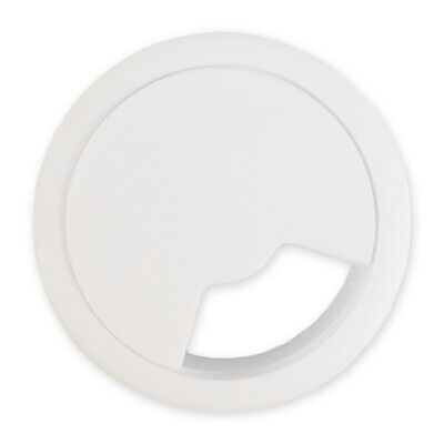 WHITE DESK TIDY 60mm Grommet Computer PC TV Table Wire Cable Hole Cover Surface • 2.15£