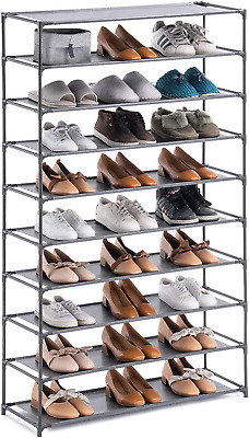 AU85.54 • Buy 50 Pair Large Shoe Rack 10-Tier Organizer High Boots Cabinet Sturdy Durable Grey