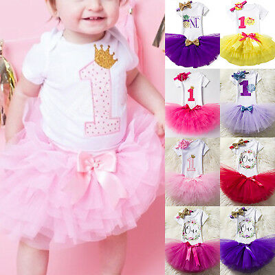 AU23.46 • Buy Kids Baby Girl First 1st Birthday Party Dress Cute Tulle Skirt Headband Outfit