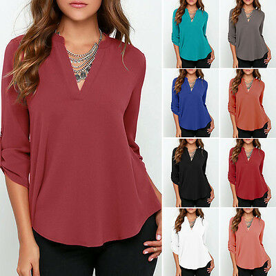AU21.59 • Buy Plus Size Womens Ladies V-Neck Loose Holiday Shirt Long Sleeve Work Tops Blouse