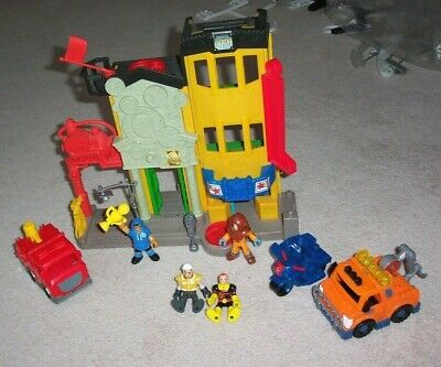 Fisher Price Imaginext Fire Station Playset W/3 Vehicles~4 Figures~Firetruck • 11.94£