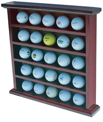 Golf Ball Display Case Wall Rack Cabinet High Quality Wood Hold 25 Balls No Door • 21.74£