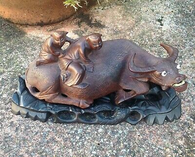 Antique Vintage, Chinese Water Buffalo With Boys, Wood Carving Figure. • 65£