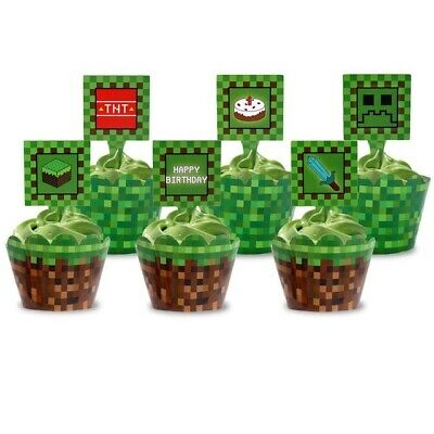AU12.99 • Buy 24Pcs Minecraft Party Supplies Paper Cupcake Wrappers Toppers Decoration
