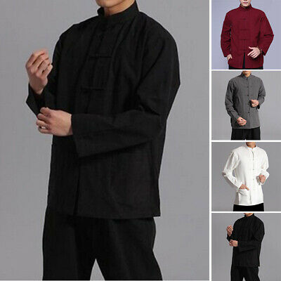 Mens Chinese Traditional Long Sleeve Cotton Linen Tang Suit Shirt Blouse Tops • 7.88£