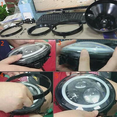 AU49.12 • Buy 1*Metal Round Motorcycle 7 Inch LED Headlight Mounting Housing Bucket For Harley