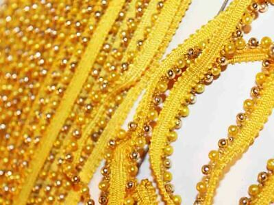 INDIAN SMALL YELLOW PEARL BEADS On WHITE RIBBON LACE TRIM BORDER - 1 METRE • 2.50£