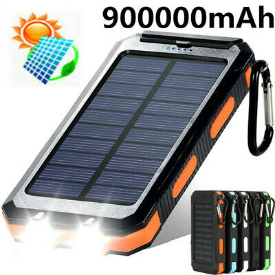 £15.93 • Buy 900000mAh Solar Power Bank Cell Phone Charger Panel Waterproof Outdoor Camping