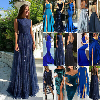 AU22.51 • Buy Women Formal Evening Party Cocktail Formal Prom Ball Gown Maxi Dress Blue Size