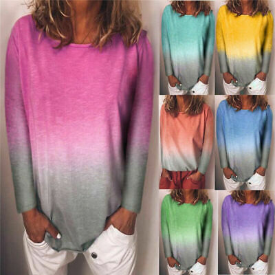 Womens Gradient Sweatshirt T-Shirt Casual Tops Blouse Ladies Plus Size Pullover • 6.68£